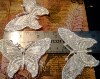 3 Large Butterfly Appliques