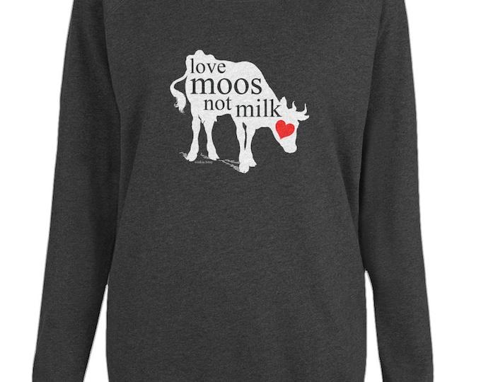 Vegan Cow 'Love Moos Not Milk' Womens Organic Cotton Raglan Sweatshirt. Grey.