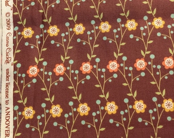 Cosmo Cricket Early Bird Fabric, Retro Floral, Andover Fabrics 2009 1 yard