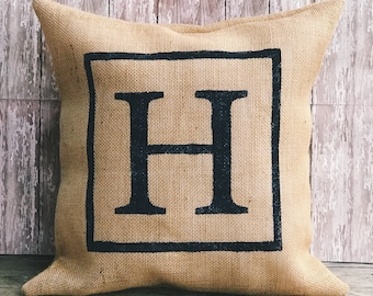 Burlap Initial Pillow Cover, Throw Pillow, 12x12, 12x16, 12x18, 16x16 or 18x18 Pillow Cover