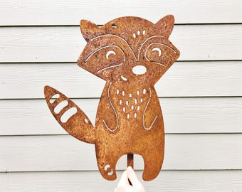 Garden Decor - Metal Garden Raccoon - Garden Art - Yard Decor - Metal Animal - Woodland Animal Decor