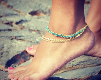 LOVMELY ANKLET- triple chain Turquoise, Coral, or white anklet 22k gold wire wrapped / boho chic