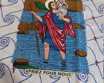 Fabric Wax Relgieux depicting Saint Christopher, made in Africa