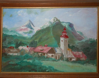 Vintage snow capped mountain landscape oil painting signed