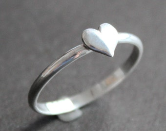Heart Ring - Sterling Silver 2mm Band with 6mm Silver Heart - Valentines Gift