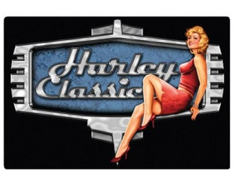 HARLEY-DAVIDSON RETRO babe embossed motorcycle sign magnet chopper hd vintage