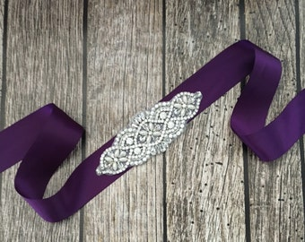 Purple wedding sash, rhinestone wedding sash, all white sash, wedding belt, simple wedding sash, purple sash