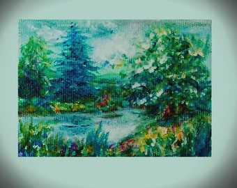 trading cards aceo landscape sister gift for bride original aceo painting miniature small landscape art collectible art canvas forest art