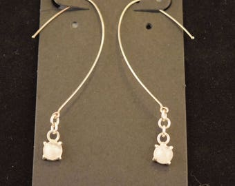 "Sterling Silver Earrings with 1/4"" (6mm) Rose Quartz Cabochon"