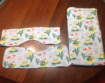 Frog Turtle Combo Receiving Blanket Burp Cloth Flannel Baby Shower Gift