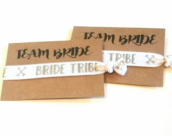 BRIDE Tribe - TEAM BRIDE, Bachelorette Favor, Hair Tie Favor, Bachelorette Party Favor, Hair Tie Bracelet, Bridesmaid Favor, Wedding Favor