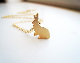 Bunny Rabbit Necklace Rabbit Necklace Gold Nature Woodland Bunny Jewelry Gift Idea Under 20 Delicate Simple Necklace Petite Bunny