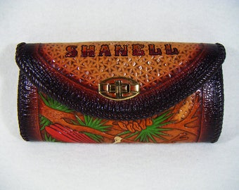 """Vintage 70's Handtooled Leather Wallet """"SHANELL"""" Cardinal"""