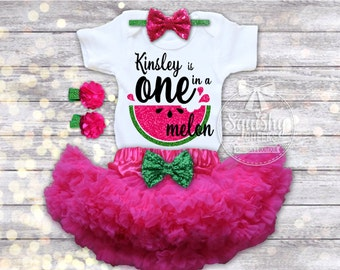 Watermelon Birthday Outfit, Personalized Birthday Outfit, Watermelon 1st Birthday, One in a Melon, Melon Hot Pink and Green Birthday
