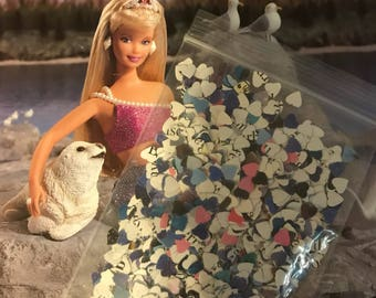 Upcycled Barbie book confetti