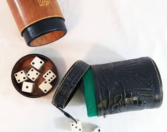 Vintage Dice Cup, Dice Games, Choice of Black or Brown Leather