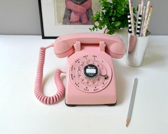 Vintage rotary phone; working rotary dial telephone; pink retro phone; 1960's rotary dial desk phone in bubblegum pink