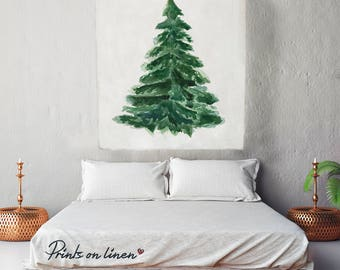Christmas Tree -  Linen wall tapestry - 57x40in - Tapestry - 100% linen  - Linen Wall hanging - Home decor