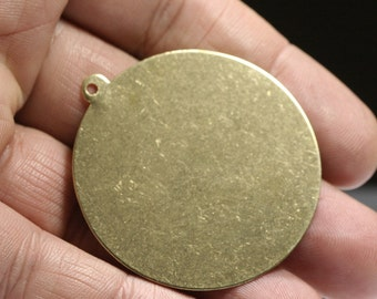 raw brass circle tag 43 mm 1 hole raw brass charms ,raw brass findings 1382R-57
