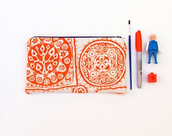 Cosmetic Zipper Pouch, Pencil Pouch Purse, Pencil Case, Orange Floral, School Supplies Bag, Women, Teen Best Friend, Co-Worker, Accessories