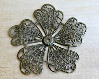 Large Antique Bronze Metal Filigree Pinwheel Flower Embellishment - 1 piece