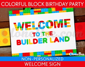 Colorful Blocks Birthday Party - Welcome Sign & Bonus: Party Signs NonPersonalized Printable // Colorful Blocks - B22Na