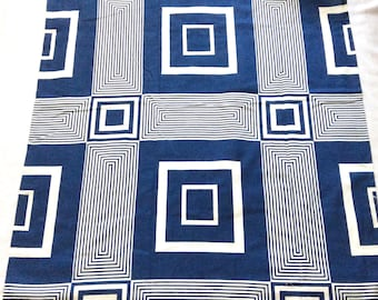 Geometric Drapes by Bates Bedspreads in Royal Blue Super Squares with Pinch Pleats New in Package Vintage Curtains