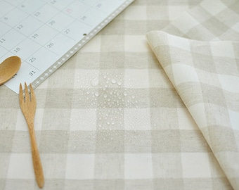 Laminated Linen Fabric - 3 cm Checkered - By the Yard 94554
