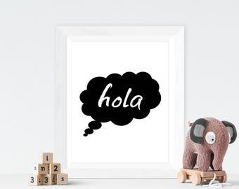 Hola nursery print, kids room print, monochrome print, nursery decor, nursery art, kids room decor, kids room art, typography art, spanish
