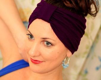Turban Headband - Hair Warp in Plum Jersey Knit - Boho Style Wide Headbands - 24 Colors