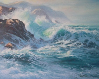 Heavy Surf Seascape Sea Ocean Waves Surf Marine Original Oil Painting