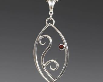 Filigree Pendant. 1 Birthstone. Sterling Silver Necklace. Genuine Gemstone. Marquise Shape. Scroll Design.