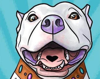 Pitbull Art print, dog art print, Pit bull art poster, pitbull poster