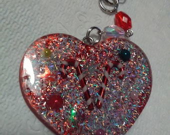 Christmas candy cane glittery keychain charm