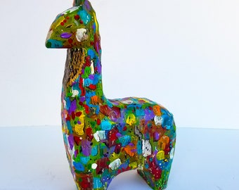 Save the Drama for Your Llama; Vibrant Painted wooden Llama from Missoula, MT; Layers of bright colorful paint. Great gift for animal lovers