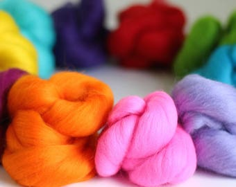 Brights Wool Bundle, Roving, Wool Roving, Needle Felting, Felting Wool, Dyed Roving, Roving Wool, Merino Wool, Needle Felting Kit, Wool