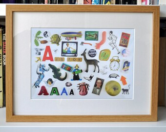Limited Edition Alphabet Collage Print With Mount: A Is For...  Original, Vintage-Themed, Unframed