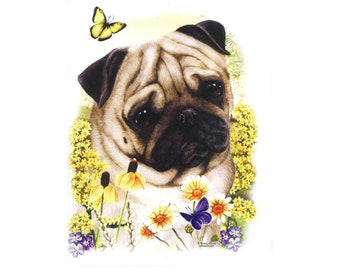 Pug Fabric Panel for Quilt Pillow or Tote 15017