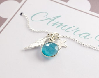 925 Silver Chain - christening jewellery, 925 Silver, Star, Angel Wings