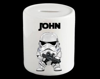 Personalised Star Wars Storm Trooper Piggy Bank, Storm Trooper Star Wars Money Box, Star Wars gift