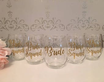 Bride Squad, Bride Squad gifts, Bride squad glasses, Bride squad wine glass, Bridal party gifts, bridesmaid gifts, maid of honor gift