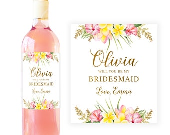 Will you be my Bridesmaid Gift Ideas, Bridesmaid Proposal Gift, Asking Bridesmaid Gift, Bridesmaid Wine Labels, Custom Personalized BM004