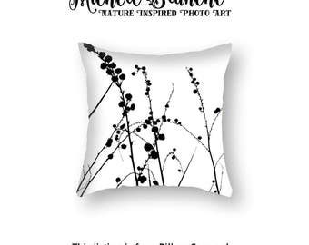 Nature Photo Pillow Cover in Black White, Zen Grasses Pillow case, Yucca seeds silhouette  Toss Pillow, Black White Zen Pillow Cover