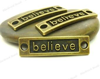 4 Believe Curved Connectors Antique Bronze Tone Metal - 35x10mm - Rectangle Bar Connectors, Bracelet Links - BA24