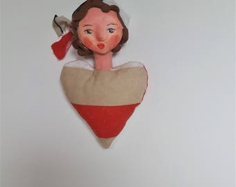 Doll handmade Doll OOAK doll heart Valentine's day