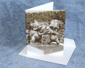 Bronze Chip and Dale (Note Card, Sepia)