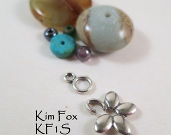 Love Me Floral Hook and Eye Clasp designed by Kim Fox in Sterling Silver