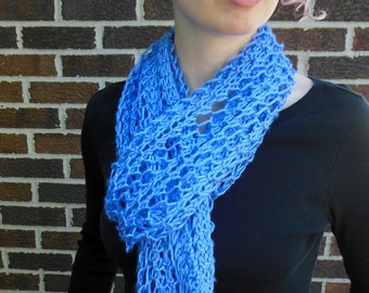 Periwinkle Blue Scarf Hand Knit Light Weight Lacy Open Weave Fashion Scarf