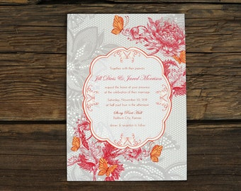 Butterflies & Lace Wedding Invitation
