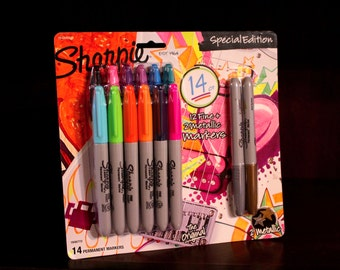 14 Count Sharpie Markers LIMITED EDITION Metallic Special Silver Gold Set Original Fine Permanent Sharpies Collection Scrapbook Drawing